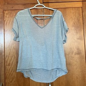Free People exposed seams open back shirt